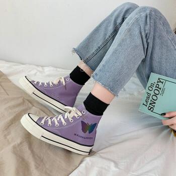 HUI PRETTYの変色小蝶々高帮kanbars女性2020夏新型はらはら上品な靴韓国版百組学生ulzzing女性靴香芋紫-変色蝶々38(試着は正常コードです)