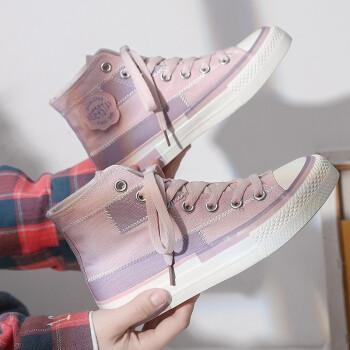 HUI PRETTY縫い合わせ個性的なハイギャンスーツ女子学生韓版ulzing百合少女网红潮靴粉紫(標準サイズ)38