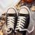 2019春の新型ブラックキャノンスウェーズ女子百乗学生靴韓国版白靴夏原宿ulzing低帮平底黒36(女性用)